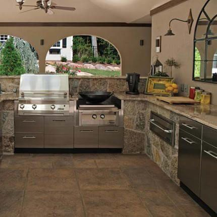 A Combination Of Masonry And Built In Stainless Steel Cabinets By Danver  Keep This Outdoor Kitchen