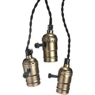 KINGSO E27 Douille Edison Pententif Lustre Suspensions Vintage Antique Rétro Adaptateur de Lampe 110-220V Trois Douilles Set Avec Interrupteur et 2m Câble à Prise Européenne Laiton Antique