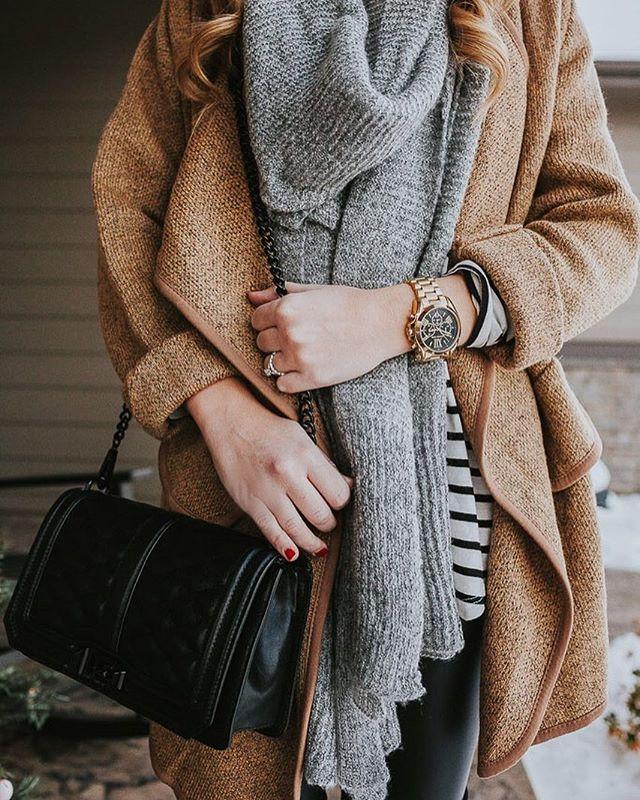 Camel Wood Coat + Gray Scarf + Black Bag