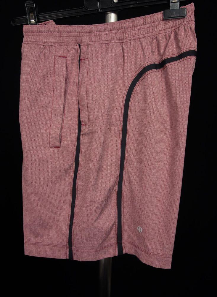 LULULEMON Mens Shorts L Large Red Black Everyday Swim Trunks Run Yoga #Lululemon #Shorts