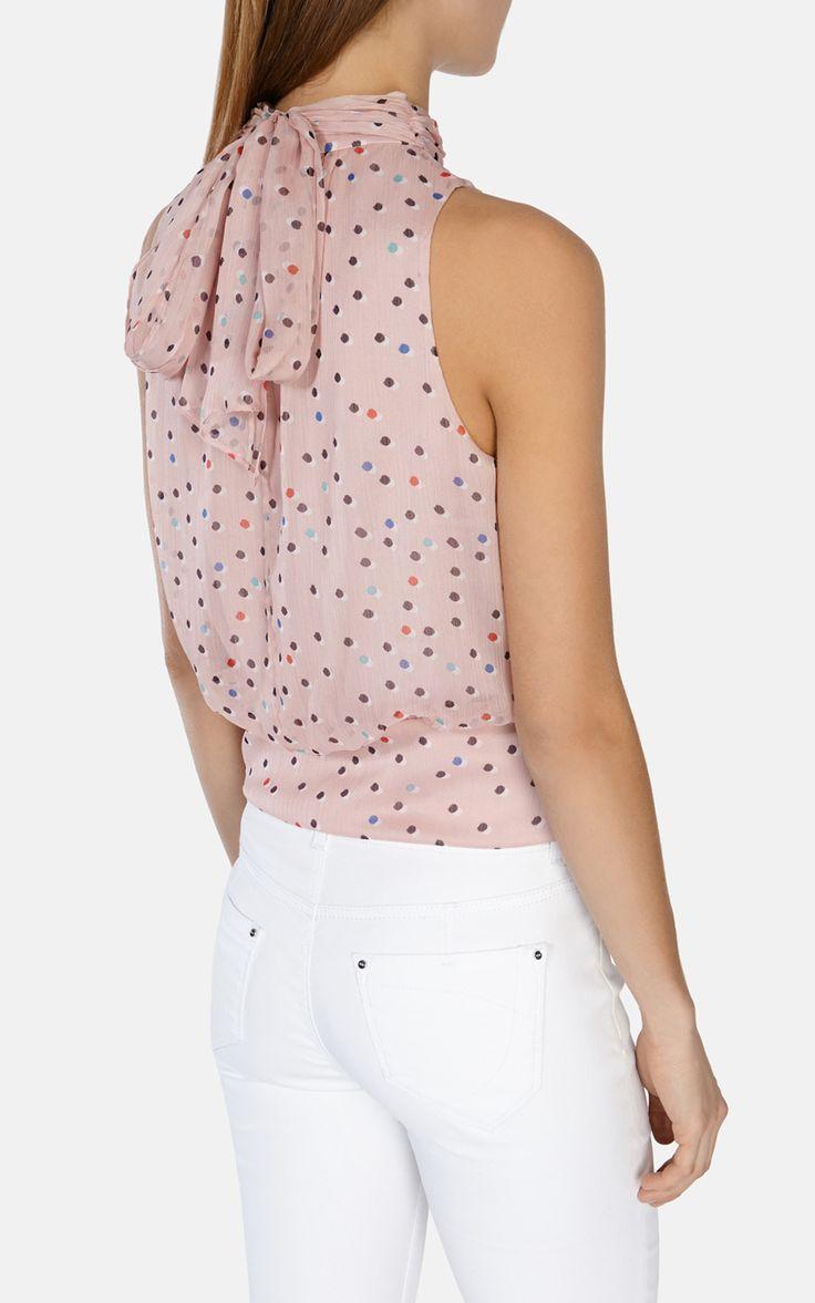 Tops | Pink Drapiertes Top mit Tupfen | Damenmode | Karen Millen