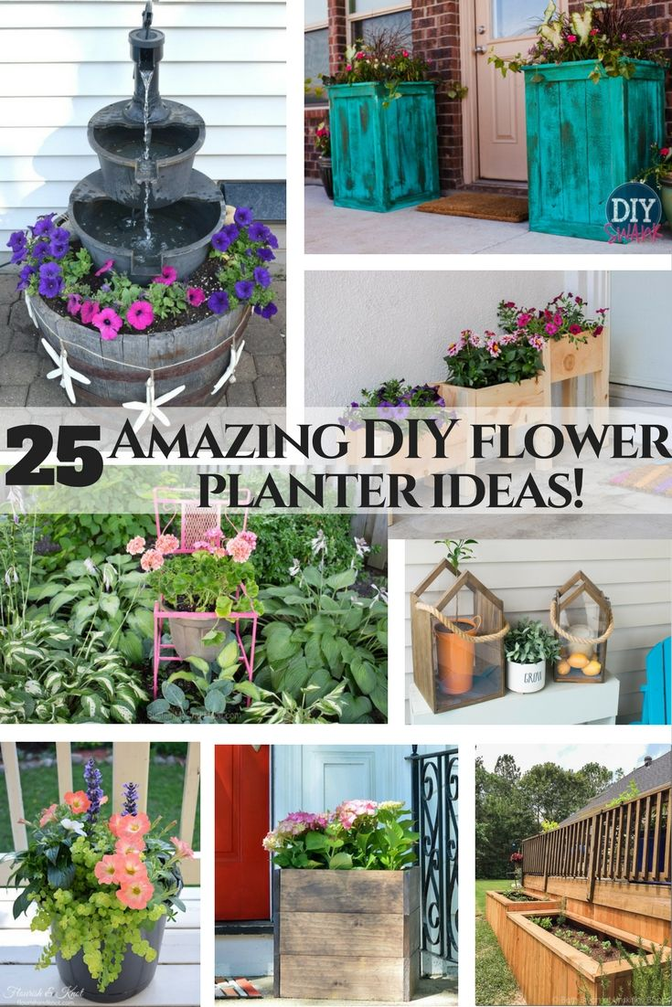 Amazing flower planter ideas! 25 DIY and upcycle flower ideas, perfect for any garden. 25 amazing outdoor flower planter ideas. Simple DIY projects to get your outdoor space summer ready! Love the upcycled chair turned into a flower planter! Creative and unique garden ideas.