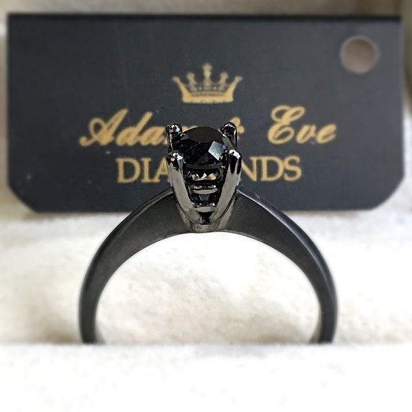 18k Black Rhodium Treated White Gold with Solitaire Black Diamond 0.54ct - Adam & Eve Diamonds - 1.684 $