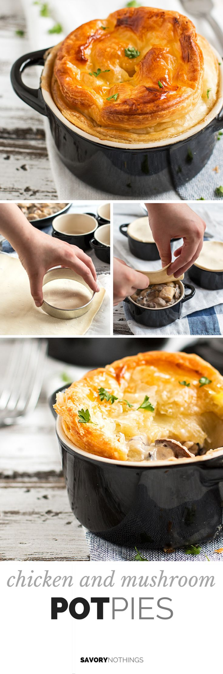 Chicken and Mushroom Pot Pies with a flaky puff pastry lid are an easy dinner recipe you can serve in individual casserole dishes. The sauce is so easy to make! | savorynothings.com