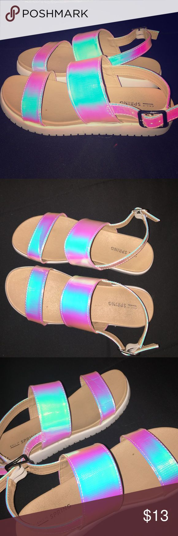 Holographic neon sandals Cushion bottom, trendy look Call It Spring Shoes Sandals