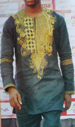 African linen design for men with Exquisite embroidery design for taste
