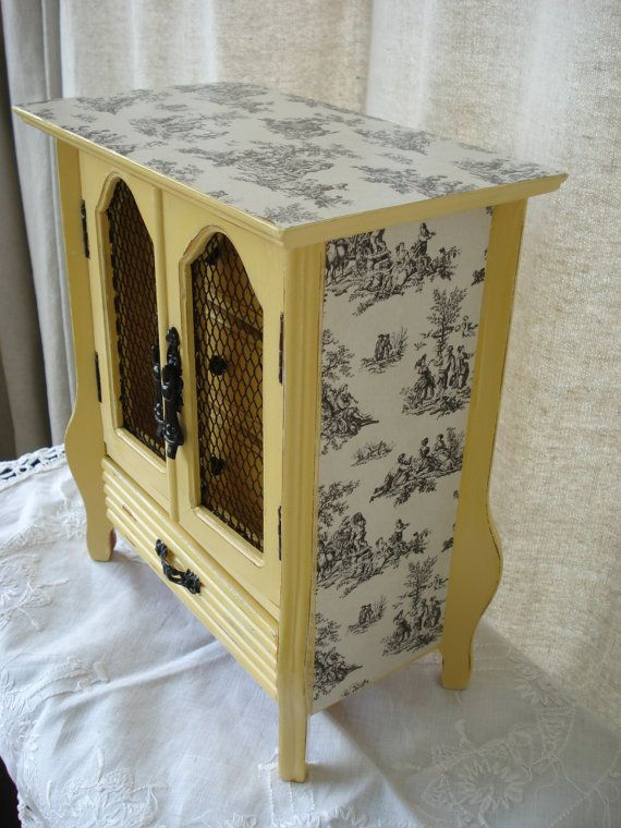 Vintage Hand Painted Decoupage Yellow Toile Distressed Jewelry Box Chest
