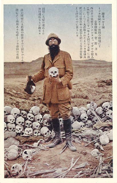 Explorer Kanno Rikio, Skulls at Inca Ruins, Peru. Japanese postcard
