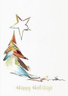 Weihnachtskarte mit Aquarell