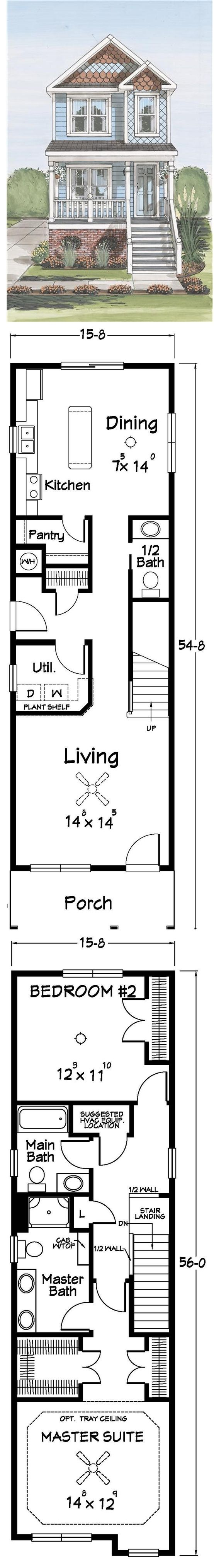 Narrow house plans woodworking projects plans for Skinny lot house plans
