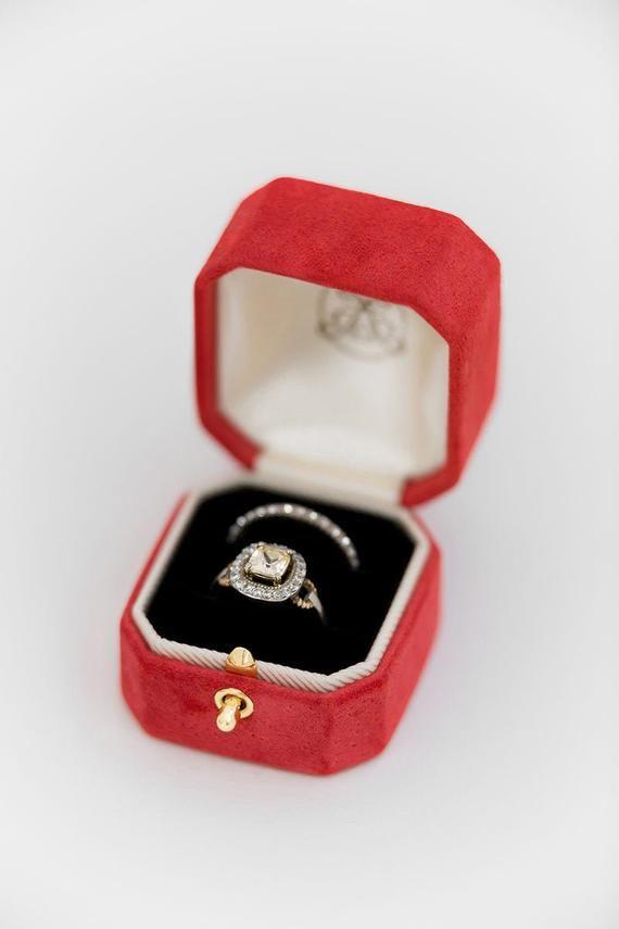 Ring Box Octagon Genuine Suede