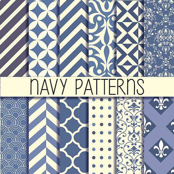 Navy patterns Printable backgrounds Instant by babushkadesign