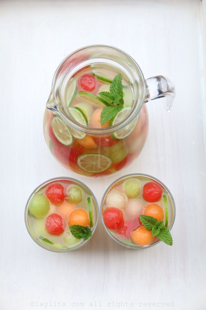 Melon sangria made with a mix of melons, including watermelon, cantaloupe and honeydew melons, moscato wine, honey, lime, grappa (an Italian grape brandy), sparkling water, and mint.