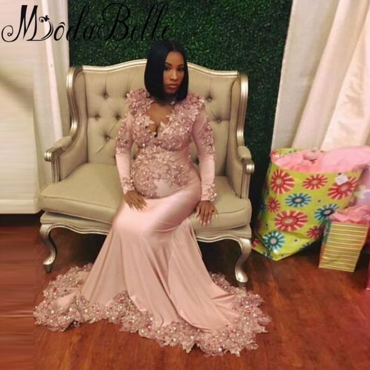 Luxury Maternity Evening Dresses Mermaid African Pink Beaded Long Sleeve Formal Evening Gown For Pregnant Women Robe Sirene 2017