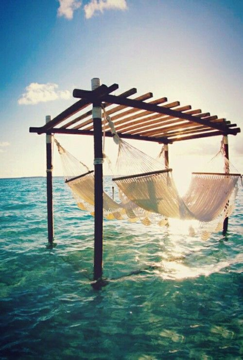 .Hammocks over water. (Take me there)