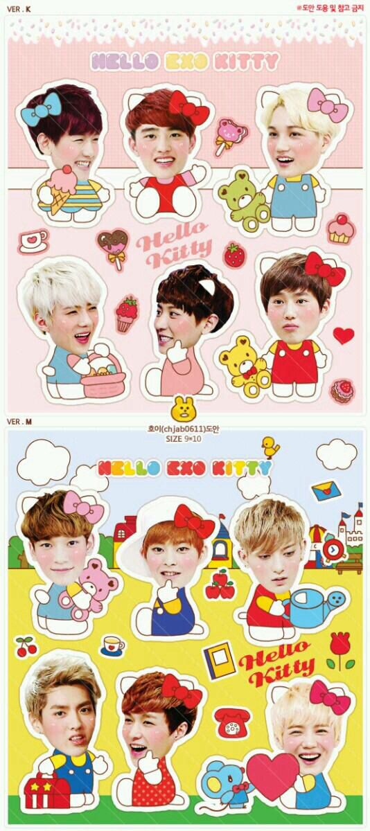 EXO cute hello kitty stickers :)