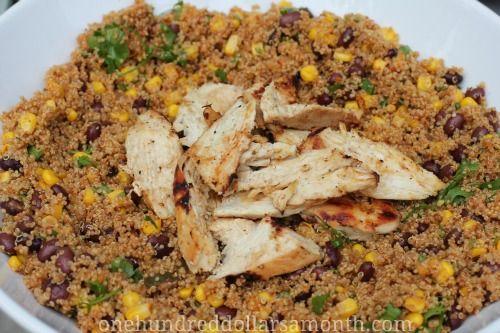 easy quinoa recipes chicken quinoa taco salad - use dried black beans and homemade taco sauce. No need to extra sodium or MSG