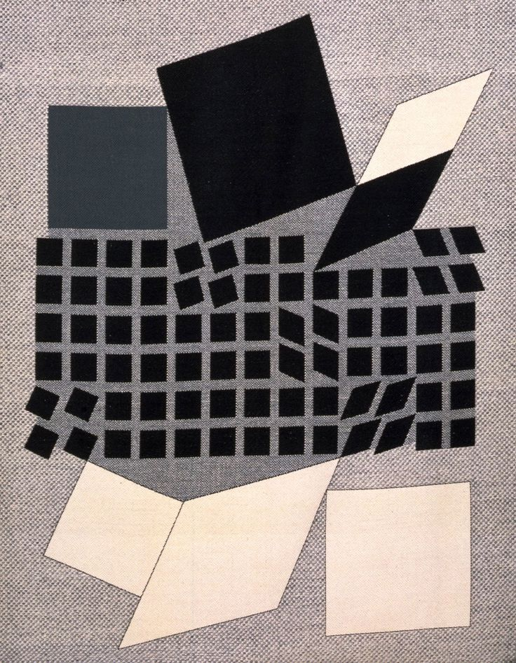 Victor Vasarely. 1962. During the 1960's, Victor Vasarely designed textiles for Edinburgh Weavers, focusing on grids and modern designs. Vasarely became known as the father of Op Art as his career continued.  #textiles #1960s #Vasarely #opart