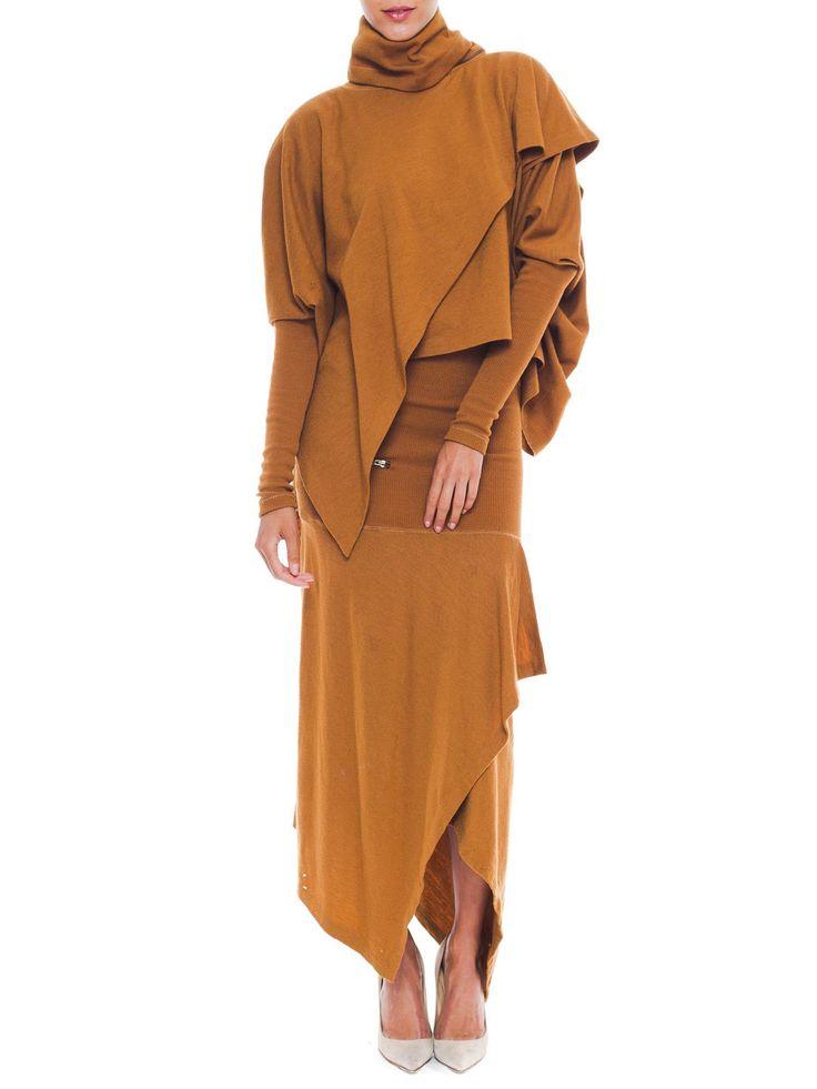 Multi-Layered Asymmetrical Issey Miyake Camel Knit Dress
