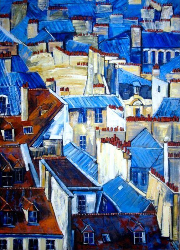 Mercedes Gómez Pablos - Roofs of Paris. Oil and carbon on canvas, 162 x 114cm. Private Collection