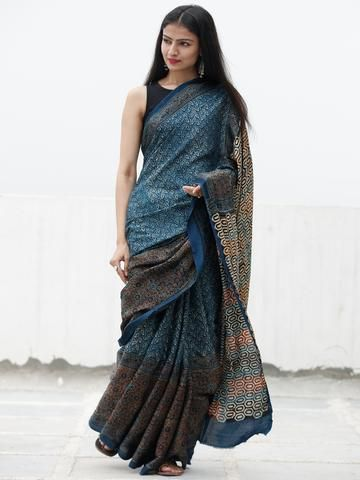 771a400651d8c Indigo Black Maroon Beige Ajrakh Hand Block Printed Modal Silk Saree in Natural  Colors - S031703705