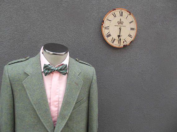 Vintage Military Inspired Tweed Jacket with Epaulets / Celtic Wedding / Irish Wedding / Sage Green Tweed Jacket Size 42 / Made in Scotland