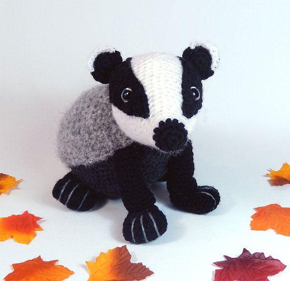 Bradley the Badger Amigurumi Crochet Pattern. by mojimojidesign