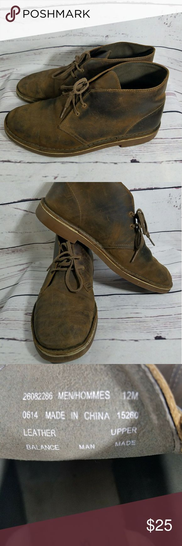 Mens Clarks Desert Boots Size 12 These are awesome looking desert boots. They have been loved. Great for summer as some edges are not sealed. They are completely sewn but not glued anymore in certain spots. This just means they probably are not waterproof. Still great shoes! The brand is Clarks  Size 12 Clarks Shoes Chukka Boots