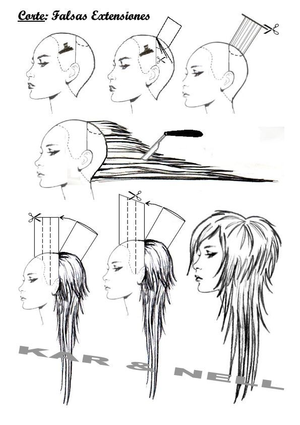 diagram long layered haircut - Google Search