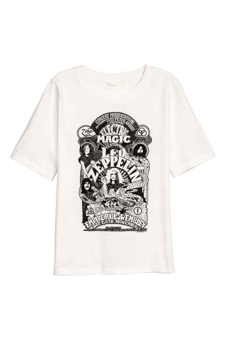 Top met print - Wit/Led Zeppelin - DAMES | H&M NL