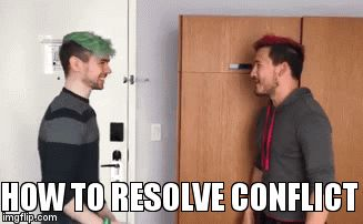The proper way to resolve conflict   HOW TO RESOLVE CONFLICT   image tagged in gifs,funny,markiplier,jackseptcieye,youtubers,bitchslap   made w/ Imgflip video-to-gif maker