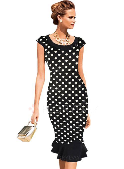 Vestidos de - $44.94 - Algodão Poliéster Bolinhas Manga Muito Curta Altura do Joelho Elegante Vestidos de (1955100188)