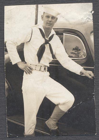 Vintage Photo Boy WWII US Navy Sailor Man w/ 1930s Coupe Car 092429 | eBay