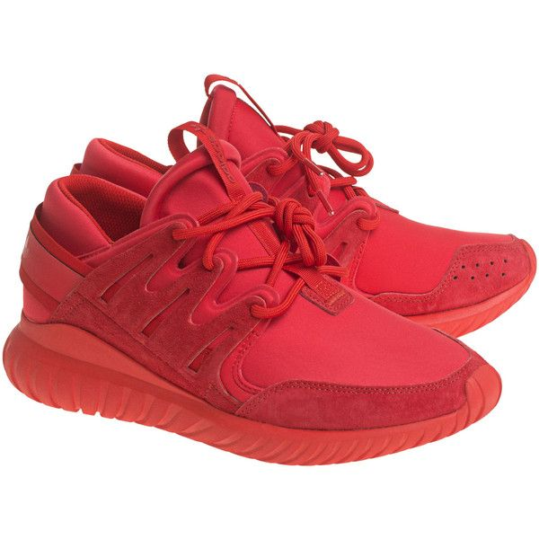 ADIDAS ORIGINALS Tubular Nova Red // Flat sneakers ($150) ❤ liked on Polyvore featuring men's fashion, men's shoes, men's sneakers, mens red shoes and mens red sneakers