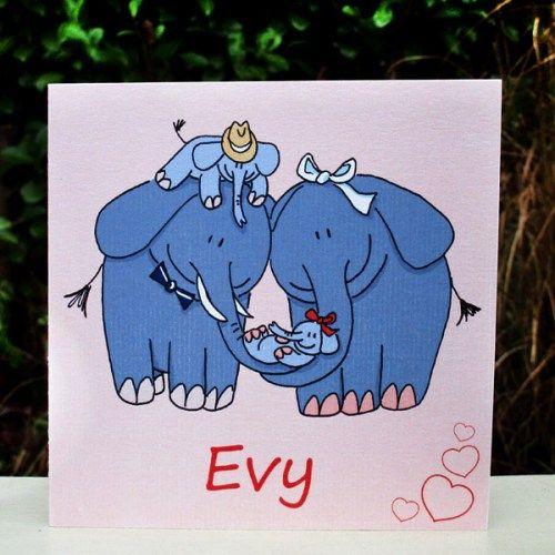 geboortekaartje met olifanten
