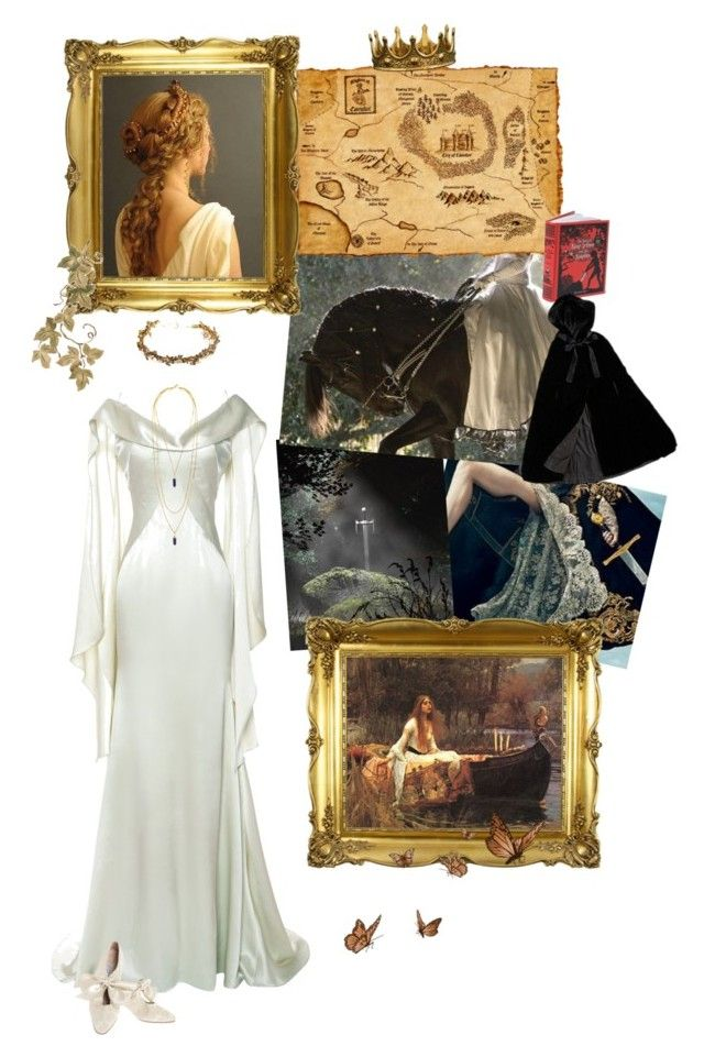 """""""Quest for Camelot Origins - The Legend of King Arthur - Lady of Shallot."""" by marialay ❤ liked on Polyvore featuring Zac Posen, Isabel Marant, Jayne Copeland, ZENTS, Jennifer Behr and Laura Ashley"""
