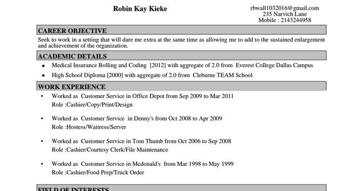 Pin by Robin Kieke-Wall on resumr Pinterest Filing - courtesy clerk resume