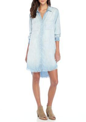 Cloth & Stone Girls' Chambray Shirt Dress - Light Mist - M