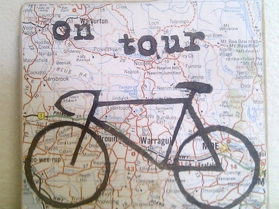 Bicycle Tour Door Tag - On Tour Map Printed Sign. $12.00, via Etsy.