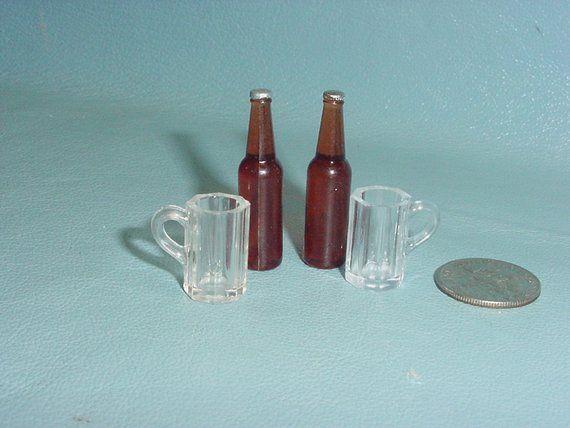 Miniature Beer Mug Charn and Bottles Dollhouse Mug Glass Bottle 1:12