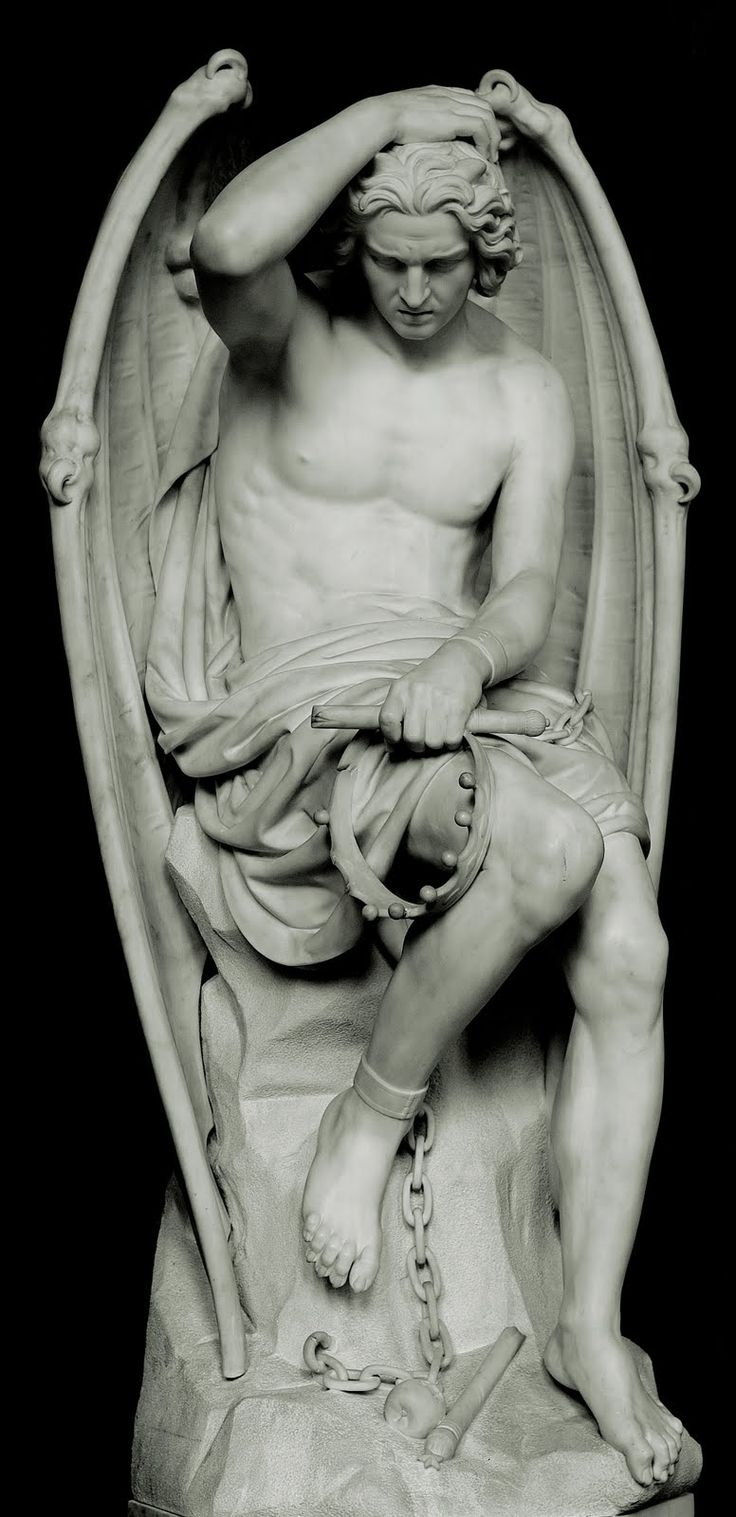 lucifer statue - what an amazing work of art. It's all in the details - you almost can't believe it is stone...
