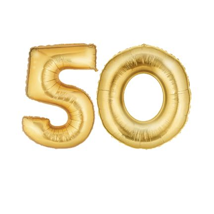 Large Gold Number 50 Balloon, Gold 50th Number Balloon