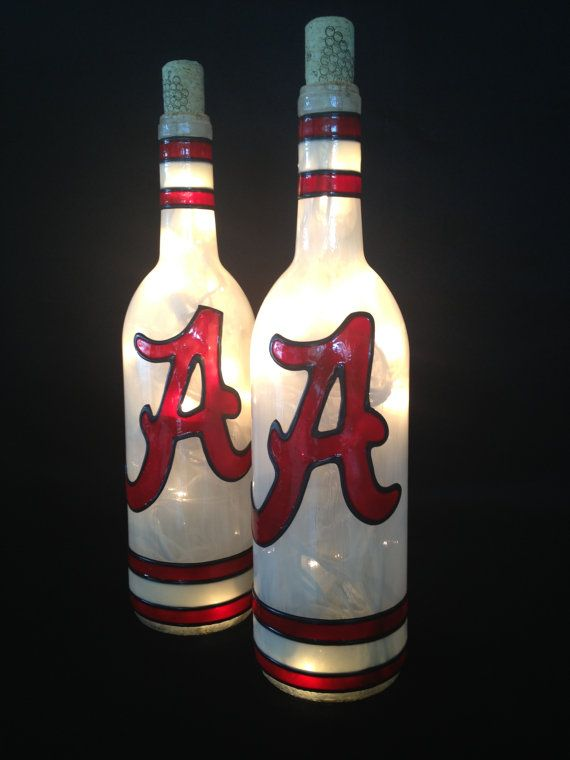Alabama Crimson Tide Wine Bottle Lamp by BottleOfLights on Etsy