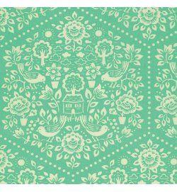 clementine - summerhouse - turquoise - designer cotton fabric
