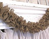 I'm in love with burlap for some odd reason i like this. Rustic Prairie Hand Made Natural Brown Ruffle Burlap Garland