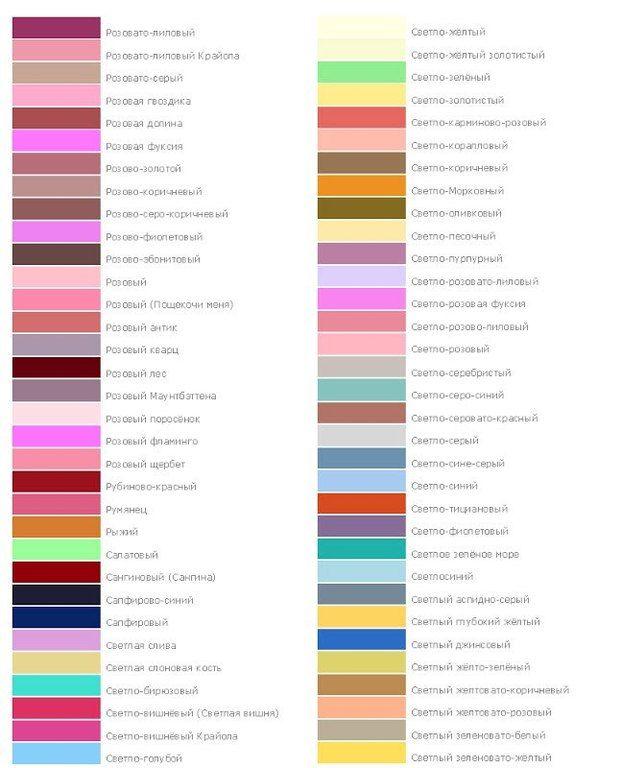 Название цветов красок с картинками