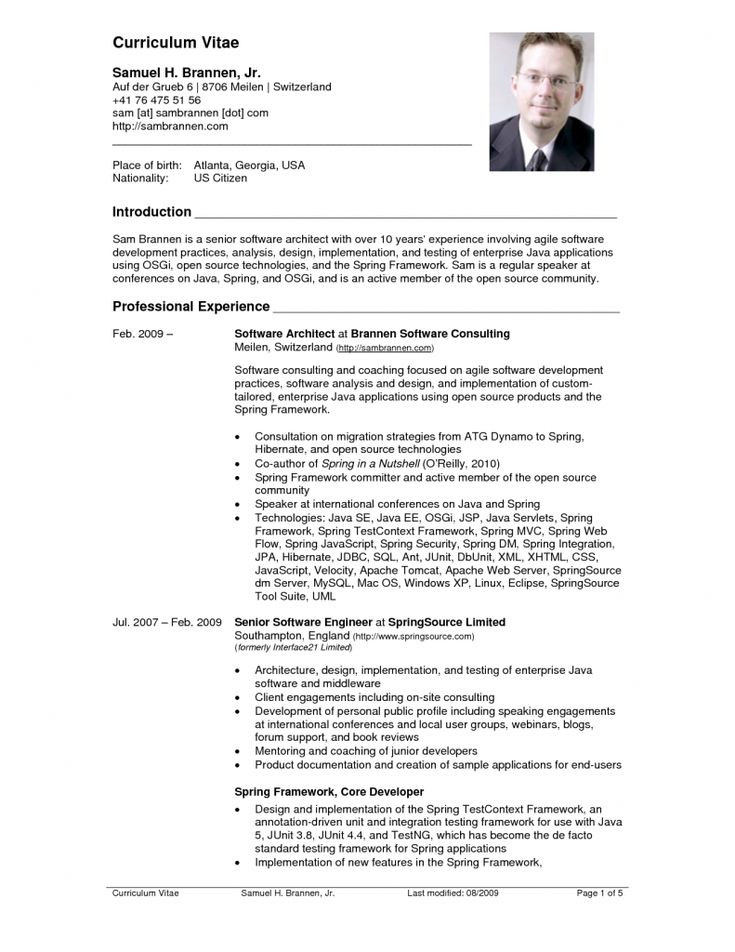 28 best cvs images on Pinterest Resume, Curriculum and Resume cv - resume template for experienced software engineer