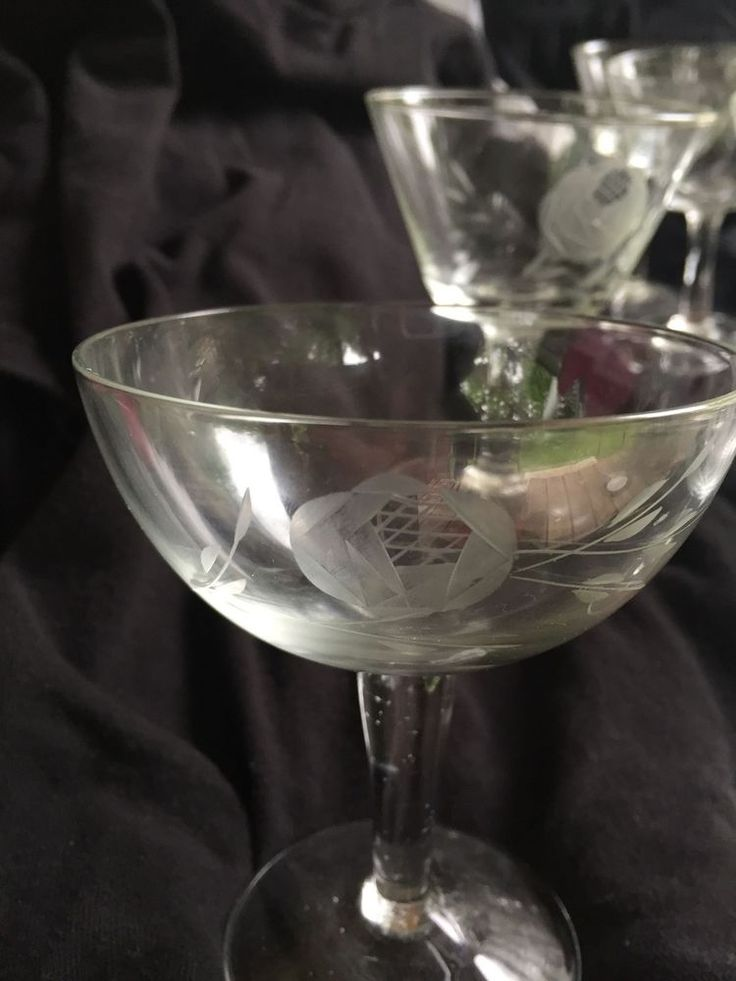 Vintage Japan Radio Brand Fine Glass Etched Rose Stemware