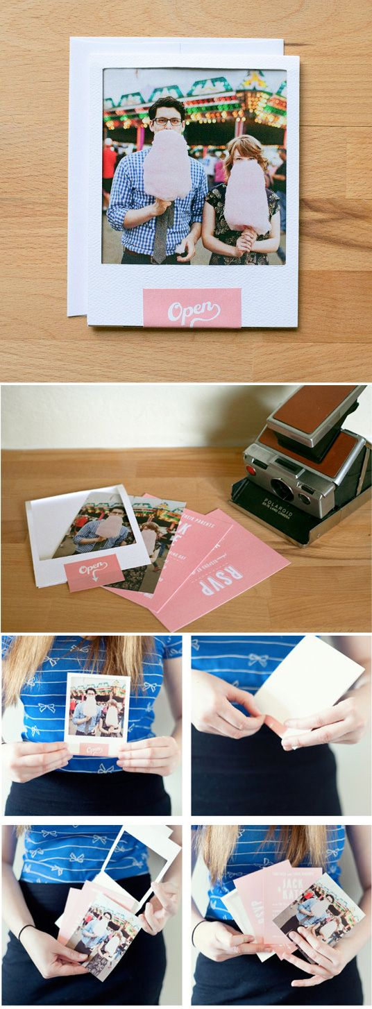 amazing diy mock-polaroid invites