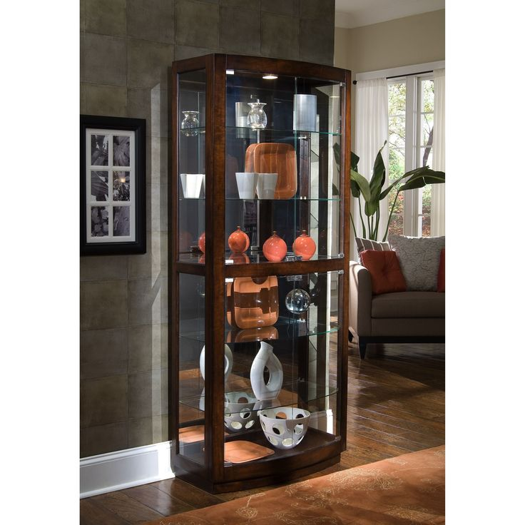 Finish Transitional Front 2-door Curio Cabinet
